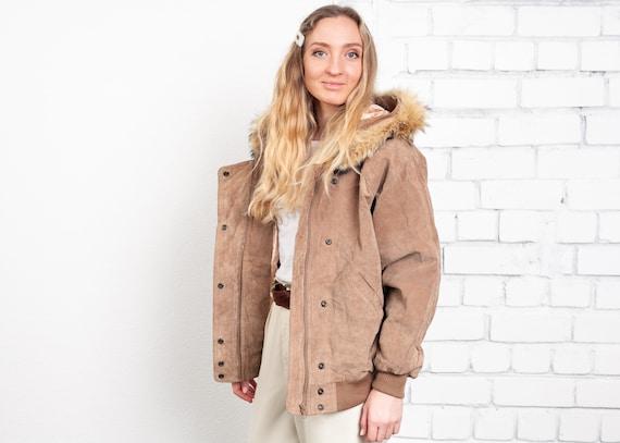 80s Suede Bomber Jacket . Vintage Fur Trim Hooded