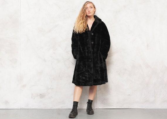 80s Black Coat Faux Fur Coat Vintage Soft Coat Ted