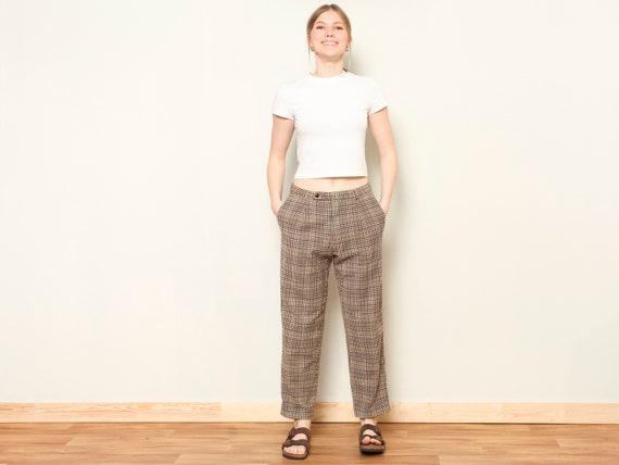 Plaid Retro Pants women vintage 80s checkered pan… - image 3
