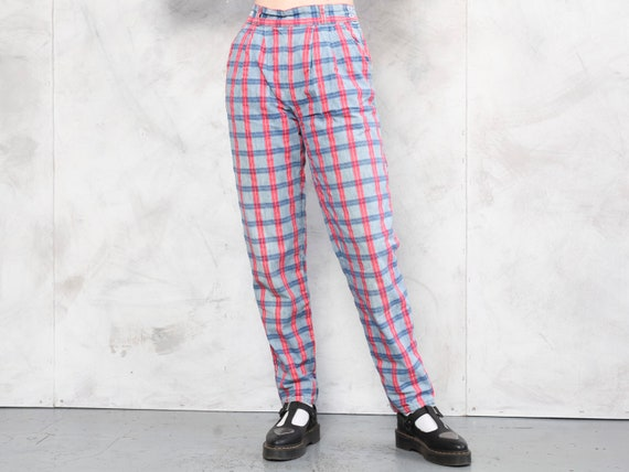 Plaid Cotton Pants vintage 80s checkered artist p… - image 1