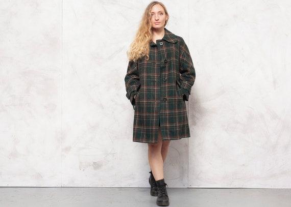 70s Wool Coat Vintage Longline Jacket Plaid Overco