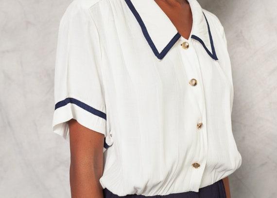 70s Sailor Jumpsuit Romper Jumpsuit Short Sleeve … - image 7