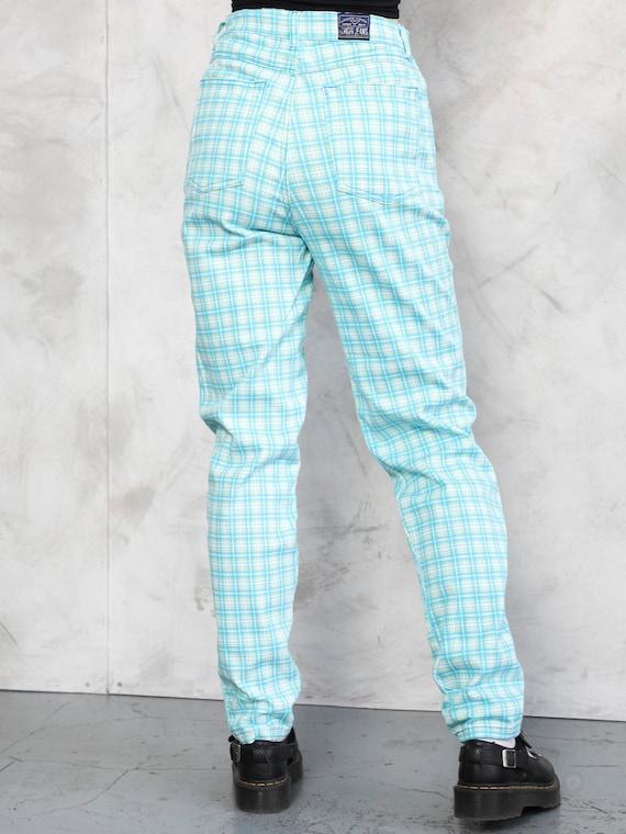 Plaid Summer Pants 80s checkered nerd pants light… - image 4