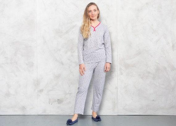 Vintage 90s Gray Ditsy Print Pajama Set . Vintage