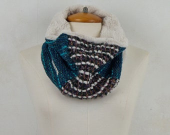 Gifts for men, unisex scarf, men's scarf, circular scarf, reversible scarf, circular hood, woolen collar, embroidered collar