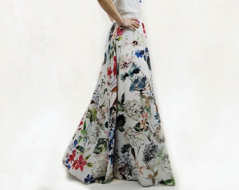 Long skirt chiffon long skirt for elegant party, elegant flower long skirt, long wedding guest skirt, floral print maxi skirt