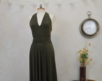 Long khaki green party dress, green bridesmaid dress, original long party dress, long khaki green bridesmaid dress