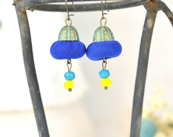 Blue & Yellow Lime Earring, Fashion Handmade Earring, Trendjewelry, 2020 Jewelry, Fashion Handmade Jewelry