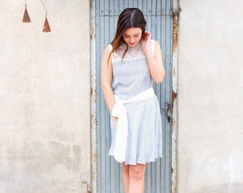 white short dress of blue polka dots, author design dress, author clothes, author fashion, designer fashion