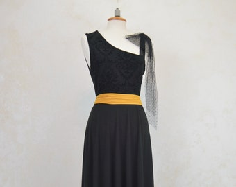 Long black shiny nonconventional party dress, very original black long dress for events, black dress, daniela barbieri