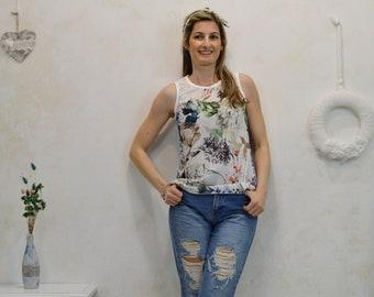 Top bohochic, patchork t-shirt, vintage style t-shirt, bohemian t-shirt, romantic t-shirt, unique top flower t-shirts, women's top