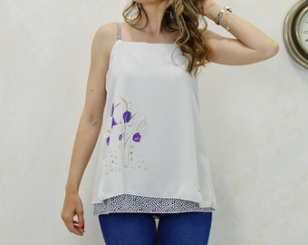 Flower print top, violet flower print top, watercolor  print top, designer fashion, original fashion, original t-shirts, printed t-shirt