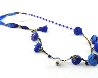 Blue vintage style necklace, blue beaded necklace, very original fabric necklace, navy blue necklace, pearl necklace, woman's gifts