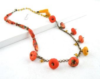 Fabric flower necklace, boho fabric necklace, textile necklace fabric, boho necklace, rope necklace handmade jewery, necklace vintage