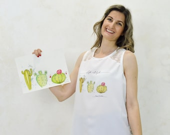 Cactus print t-shirt, watercolor cactus print t-shirt, original cactus print, cactus print top
