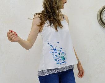 Blue fish print top, watercolor fish print top, women's top, original illustration print, watercolor fish drawing