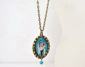 Antique style necklace with Audrey Hepburn illustration