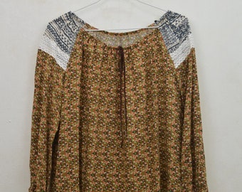 Boho ethnic print blouse, boho colored mustard etampada blouse, promo boho blouse, sale blouses, designer boho blouses, author fashion