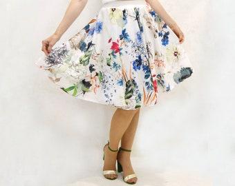 Falda de fiesta con flores, falda de crep estamado de flores, falda en circulo, falda de crep, falda midi elegante, falda elegante
