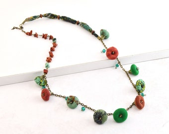 Handmade natural stone and textile bead necklace, hippiechic handmade necklace, very original handmade necklace, boho jewelry