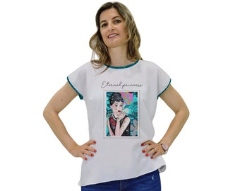 Short sleeve t-shirt with blue fish print, t-shirts with original prints, short sleeve t-shirt for women, designer t-shirt.