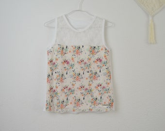 Chiffon and lace top, chiffon and lace romantic print top, original floral print lace top, sweet and romantic print top, original top