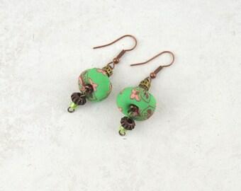 handmade earrings, original handmade earrings, handmade fabric earrings, exclusive earrings, handmade jewelery, handmade presents, earring