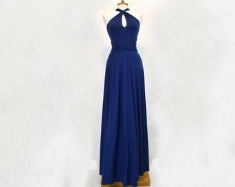Navy blue long floor-length wedding dress, infinite convertible bridesmaids multi-way dress, navy evening evening dress