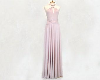 Vestido de dama de honor rosa suave, convertible y elegante vestido de fiesta color rosa, vestido largo rosa maquillaje, vestido  rosa