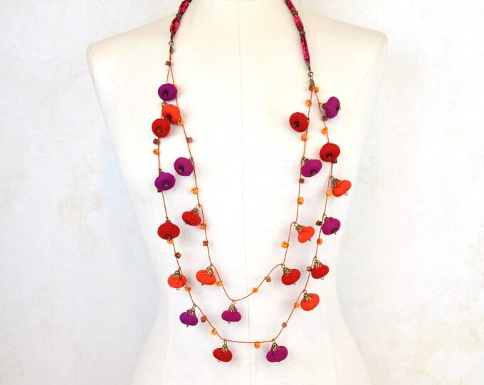 colorful bohemian style necklace, red orange fuchsia design crafts, multicolored ethnic necklace