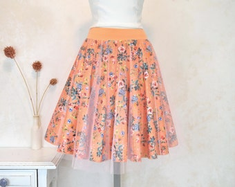 Fashion skirts for this summer, original watercolor flower print handmade skirt, exclusive designs