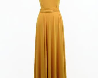 Long yellow party dress, long prom dress prom dress yellow , original length, mustard long dress