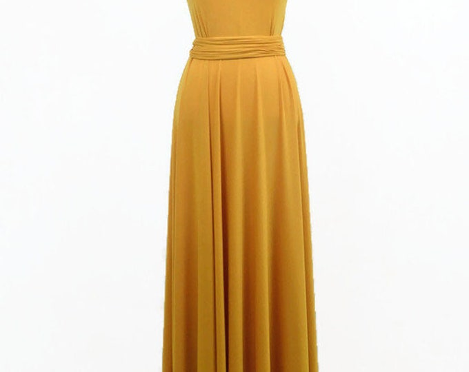 Featured listing image: Long yellow party dress, long prom dress prom dress yellow , original length, mustard long dress