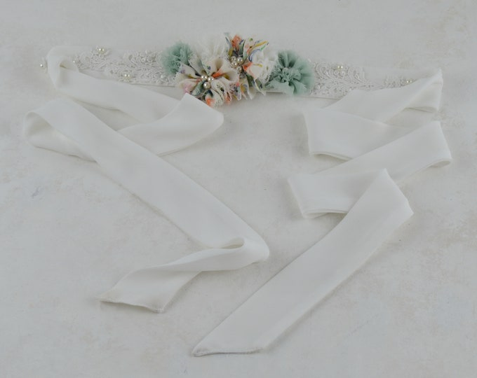 Featured listing image: Belt wedding flowers, bow for wedding dress, craft belt for party dress, accessories for wedding dress, belt