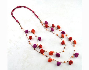 colorful bohemian style necklace, red orange fuchsia design crafts, multicolored ethnic necklace