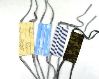 mascarilla de tela lavable con filtro y pieza de metal en la nariz, mascara con bolsillo para filtro reemplazable, mascarilla de tela