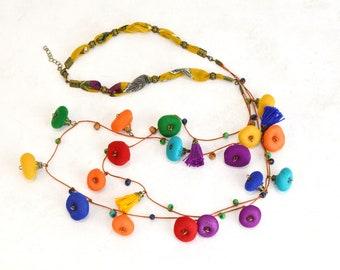 Collar largo bohemio multicolor, collar de abalorios bohochic, collar largo de moda, regalos para mama, collar estilo bohochic
