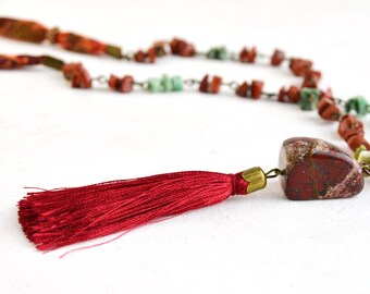 Bohemian necklace, natural stone necklace, red quartz necklace, tassel necklace, natural stone bohemian necklace