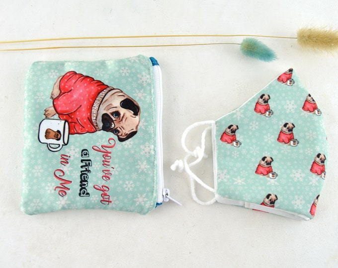 Featured listing image: mask plus pug dog print mask case, mask case plus matching mask