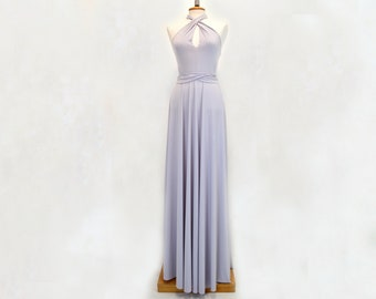 gray long infinity party dress, pearl gray infinity wrap dress, long light gray party dress, silver Long Floor-Length Prom Dres