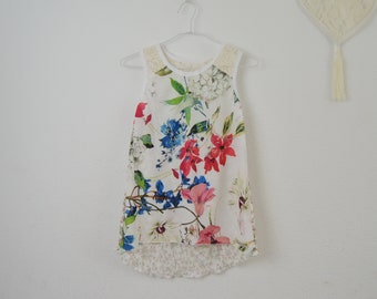 Patchwork floral print t-shirt, lace and flower print top, spring print top, printed summer top, floral patchwork t-shirt, original clothes