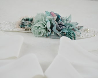 Belt wedding flowers, bow for wedding dress, craft belt for party dress, accessories for wedding dress, belt
