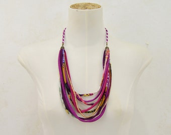 Purple fabric necklace, purple handmade necklace, fabric strips necklace, multicolored fabric strips necklace, original gift