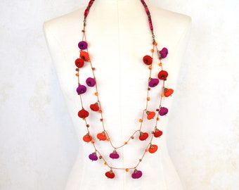 rose necklace beaded pink magenta red fuchsia with fabric pink beads,  handmade beaded necklace