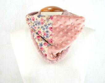 Pink scarf, pachwork scarf, circular scarf, hood for women, warm hood pachworck, original scarf, original gifts, gift