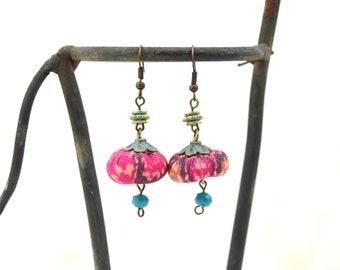 Artisan fabric earrings, handmade bohemian earrings, boho handmade earrings