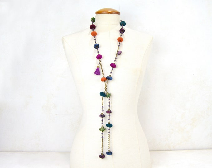 Multicolor Beaded Long Necklace, Multicolored long Necklace, Multicolored Bohemian , open long necklace fullcolor textil daniela barbieri