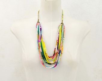 cloth bib necklace, colorful necklace, colorful strips necklace, many colors textile necklace, multicolored necklace, fabric necklace