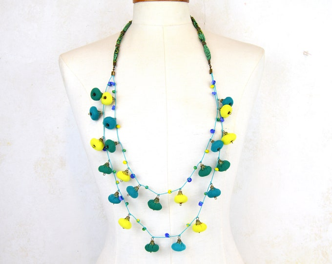 lime turquoise green necklace, handmade crafts, Fashion accessories, original colored beaded necklace