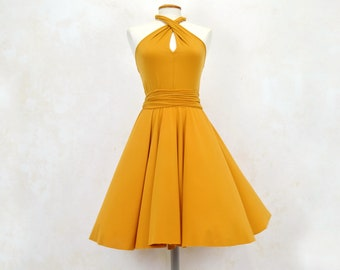 Yellow multiposition short party dress, yellow short party dress, yellow guest dress, short party dress